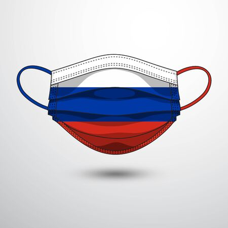 Medical Mask with National Flag of Russia as Icon on White. Protective Mask Virus and Flu. Fight  Coronavirus (2019-nCoV) in Form of flag design