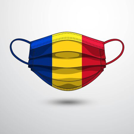 Medical Mask with National Flag of Romania as Icon on White. Protective Mask Virus and Flu. Fight  Coronavirus (2019-nCoV) in Form of flag design
