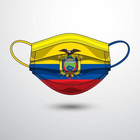 Medical Mask with National Flag of Ecuador as Icon on White. Protective Mask Virus and Flu. Fight  Coronavirus (2019-nCoV) in Form of flag design  イラスト・ベクター素材