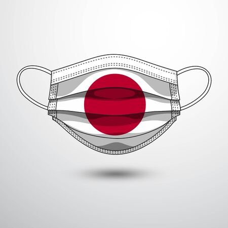 Medical Mask with National Flag of Japan as Icon on White. Protective Mask Virus and Flu. Fight Coronavirus (2019-nCoV) in Form of flag design