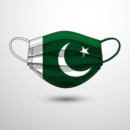 Medical Mask with National Flag of Pakistan as Icon on White. Protective Mask Virus and Flu. Fight  Coronavirus (2019-nCoV) in Form of flag design