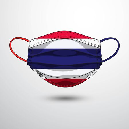 Medical Mask with National Flag of Thailand as Icon on White. Protective Mask Virus and Flu. Fight  Coronavirus (2019-nCoV) in Form of flag design