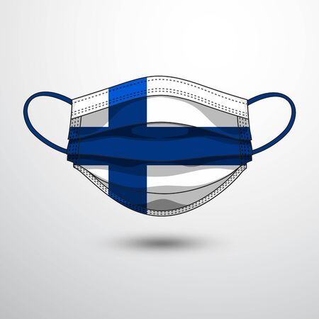 Medical Mask with National Flag of Finland as Icon on White. Protective Mask Virus and Flu. Fight  Coronavirus (2019-nCoV) in Form of flag design Illustration