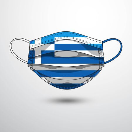 Medical Mask with National Flag of Greece as Icon on White. Protective Mask Virus and Flu. Fight  Coronavirus (2019-nCoV) in Form of flag design