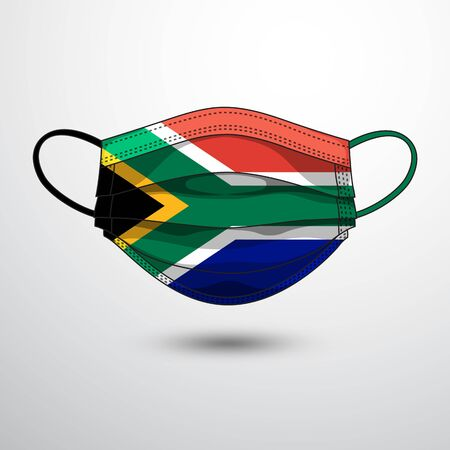 Medical Mask with National Flag of South Africa as Icon on White. Protective Mask Virus and Flu. Fight  Coronavirus (2019-nCoV) in Form of flag design