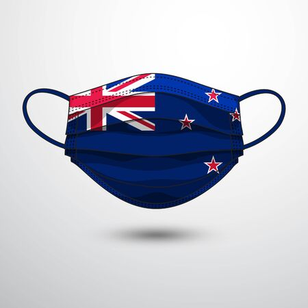 Medical Mask with National Flag of New Zealand as Icon on White. Protective Mask Virus and Flu. Fight  Coronavirus (2019-nCoV) in Form of flag design Illustration