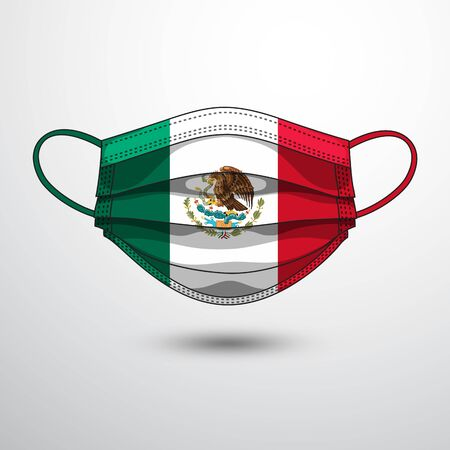 Medical Mask with National Flag of Mexico as Icon on White. Protective Mask Virus and Flu. Fight  Coronavirus (2019-nCoV) in Form of flag design