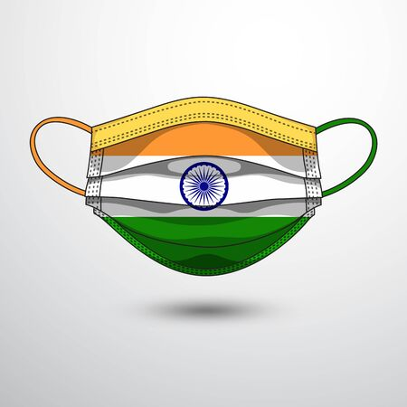 Medical Mask with National Flag of India as Icon on White. Protective Mask Virus and Flu. Fight  Coronavirus (2019-nCoV) in Form of flag design
