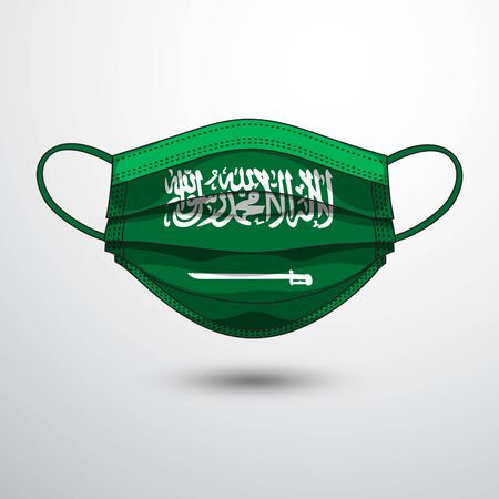 Medical Mask with National Flag of Saudi Arabia as Icon on White. Protective Mask Virus and Flu. Fight  Coronavirus (2019-nCoV) in Form of flag design Illustration
