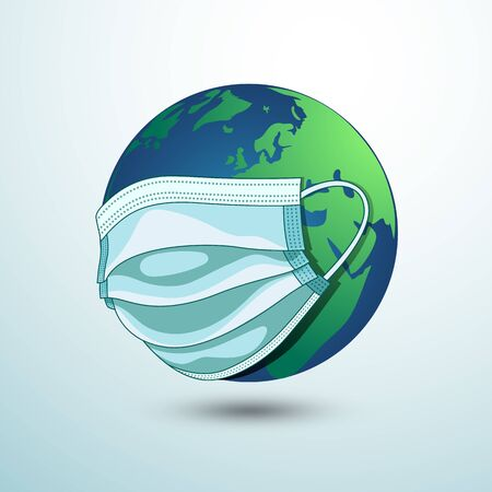 Planet earth wearing a protection medical mask. Epidemic concept. Danger of infection. corona virus protection, vector illustration