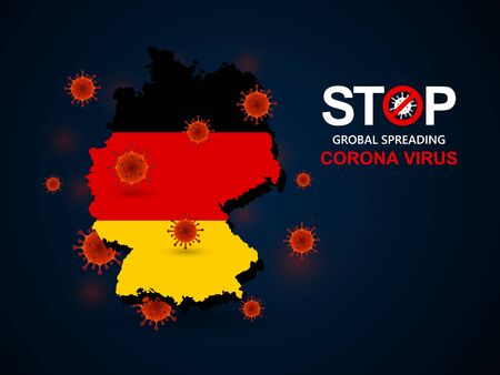 Corona virus covid-19 in Germany with flag and map background,vector illustration Illustration