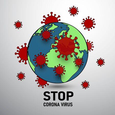 virus around the world end world surround by virus covid-19 corona virus infect concept Stock Vector - 145120925