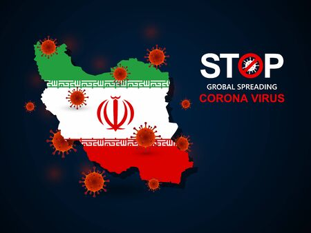 Corona virus covid-19 in Iran with flag and map background,vector illustration
