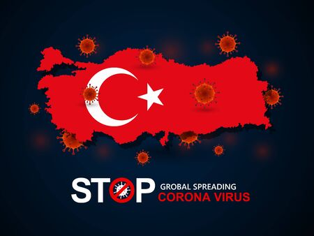 Corona virus covid-19 in Turkey with flag and map background,vector illustration Illustration