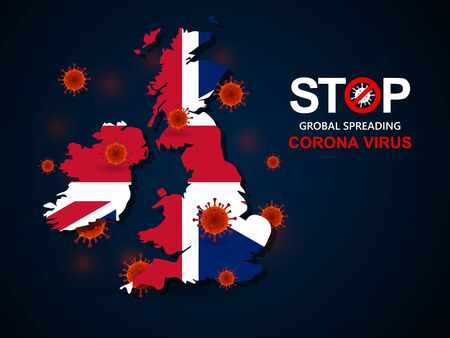 Corona virus covid-19 in United Kingdom with flag and map background,vector illustration