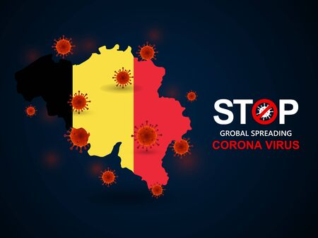 Corona virus covid-19 in Belgium with flag and map background,vector illustration