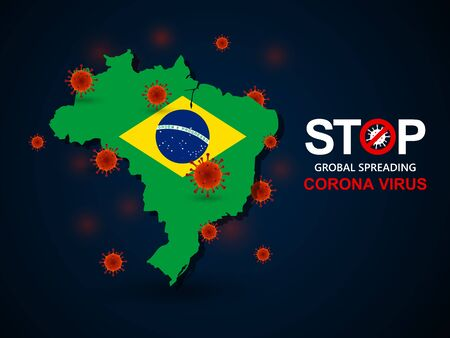 Corona virus covid-19 in Brazil with flag and map background,vector illustration