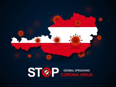 Corona virus covid-19 in Austria with flag and map background,vector illustration  イラスト・ベクター素材