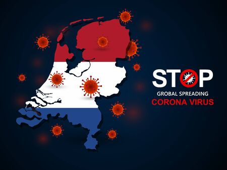 Corona virus covid-19 in Netherlands with flag and map background,vector illustration