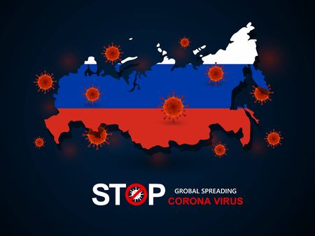 Corona virus covid-19 in Russia with flag and map background,vector illustration Illustration