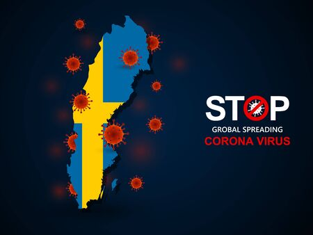 Corona virus covid-19 in sweeden with flag and map background,vector illustration  イラスト・ベクター素材