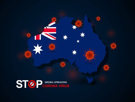Corona virus covid-19 in Australia with flag and map background,vector illustration Illustration