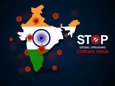 Corona virus covid-19 in India with flag and map background,vector illustration Illustration