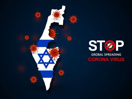 Corona virus covid-19 in Israel with flag and map background,vector illustration