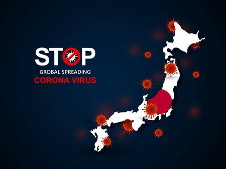 Corona virus covid-19 in Japan with flag and map background,vector illustration  イラスト・ベクター素材