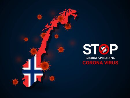 Corona virus covid-19 in Norway with flag and map background,vector illustration