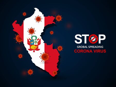 Corona virus covid-19 in Peru with flag and map background,vector illustration Illustration