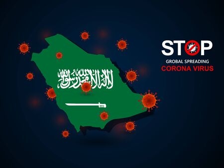 Corona virus covid-19 in Saudi Arabia with flag and map background,vector illustration
