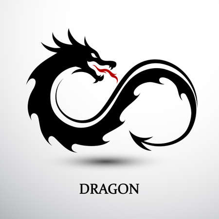 Chinese dragon silhouette flat color  design infinity shape, vector illustration  イラスト・ベクター素材