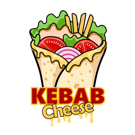 wrap kebab cheese and ingredients for kebab, vector illustration  イラスト・ベクター素材