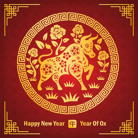Chinese new year 2021 card is bull paper cut in circle frame and Chinese word mean bull,vector illustration