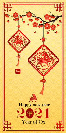 Chinese new year 2021 card is ox in lantern and Chinese word mean ox,vector illustration