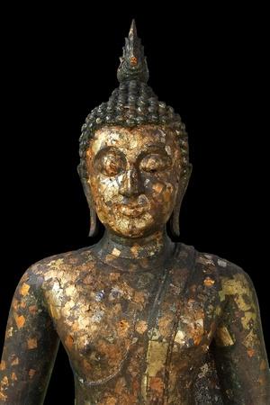 half body: Half body Buddha statue with black background