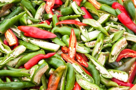 The Red and green slice chili background texture