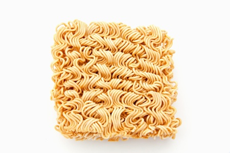 Dry instant noodle on white background