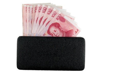 Black leather wallet with  yuan notes isolate background Zdjęcie Seryjne