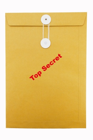 Paper Envelope stamp  top secret  isolated on white background