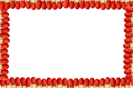 Red matchstick border on a white background
