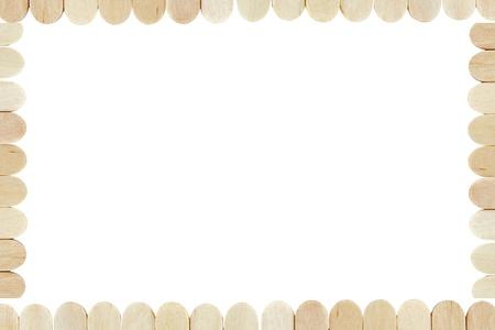 wood ice-cream stick border isolated on white background