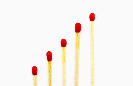 Red matchstick on a white background
