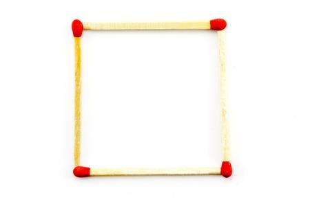 Matchsticks square on white background