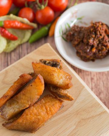 Snake head fish fried with fermented fish spicy dip Zdjęcie Seryjne