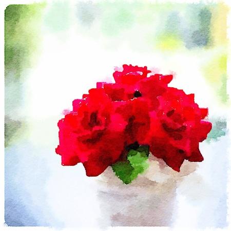 Red Roses in water color  Zdjęcie Seryjne
