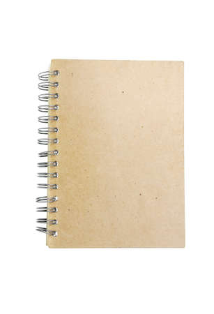 brown recycle paper notebook right page. isolated over white background photo