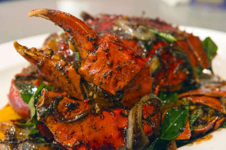 crab meat: Chili fried crab with black peper