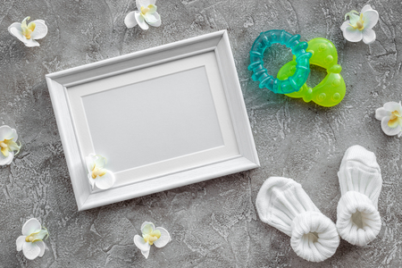 Presents Set For Baby Shower With Orchid Flower And Frame On Stock